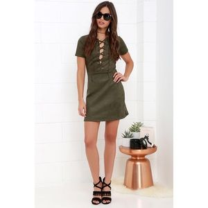 Lulus Olive Green Suede Lace-Up Dress Size Large